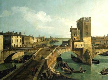 PONTE NAVI dipinto Bernardo Bellotto
