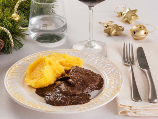 BRASATO ALL'AMARONE con polenta